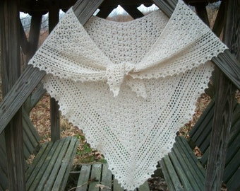 Hand spun baby alpaca crochet shawl.  Childhood memories. Make to order. See pictures.