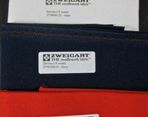 """Three (3) 18"""" by 27"""" pieces of  Zweigart """"Davosa"""" 18-count evenweave fabric for needlework"""