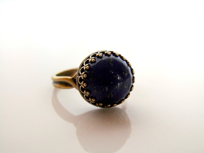 blue lapis lazuli ring antique bronze finish crown setting