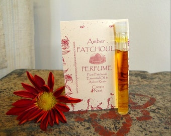 Pure Patchouli Amber trial size liquid perfume in glass vial made with essential oils of Amber and Patchouli FREE SHIPPING