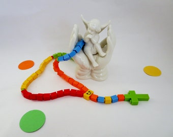 Catholic Rosary - Colorful Rainbow Children Catholic Rosary made of Lego Bricks