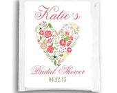 25 Heart Floral Bridal Shower Tea Bag Favors, Custom Tea Bags, Customized Tea Favors for Wedding Shower, Spring Flowers Bridal Shower