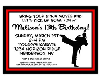 Karate Birthday Party Invitation, Karate Invite, Tae Kwon Do Invitation, CUSTOM, 4x6 or 5x7 size - Karate invitation