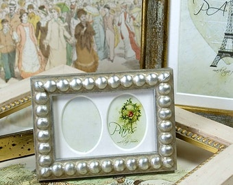 Narrow Silver Boule Photo Picture Frame with Tiny Double Oval Mat