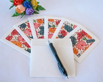 Japanese paper - six blank note cards - all one pattern- red multi-coloured lotus katazome-six ivory envelopes - Ready to ship