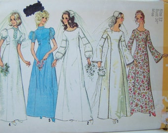 70's Simplicity 9935 Sewing Pattern SALE Boho Wedding Gown with Bell Sleeves Round or Stand Up Collar Bridesmaid Dress Size 12 Destash