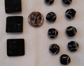 1920s Art Deco Black Milkglass Buttons