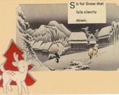 S is for Snow holiday card and handmade envelope