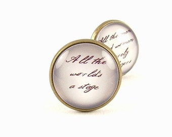 Writers Gift - Author Gift - Literary Cuff Links - Shakespeare Quote Cufflinks - All The World's A Stage - Gift For Boyfriend - Gift For Him