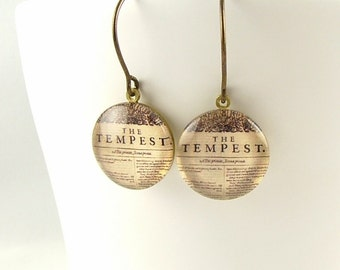 The Tempest Earrings - Glass Drop Earrings - Shakespeare Literary Thespian Gift - Unique Valentines Gifts for Her