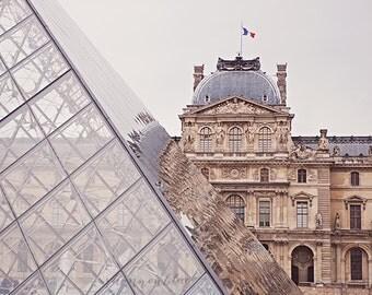 paris travel photography, louvre museum, Musée du Louvre, france, louvre pyramid, french home decor / louvre no. 1 / 8x10 fine art photo