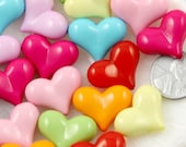 Plastic Heart Beads - 22mm Colorful Opaque Chunky Heart Resin or Acrylic Beads - 40 pc set