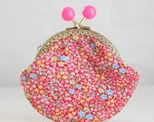 Red Calico Coin Purse Change Pouch with Metal Kiss Lock Clasp Frame - READY TO SHIP