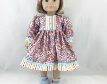 18 Inch Dolls Long Sleeved Dress Pretty Blue Salmon and Yellow Paisley and Stripes with Matching Hair Bow