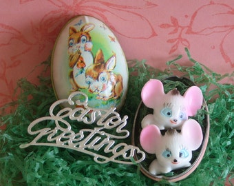 Vintage Tin Egg Candy Container Rabbits Murray Allen with Minature Mice