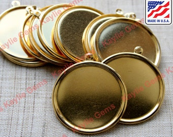 12pcs Raw Brass 30mm Round Setting Rolled Edge Cameo Cab Base 1 Ring USA