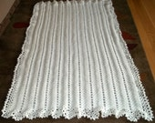Afghan Crocheted in Ripple and Lace in Soft White, Crochet Blanket, Throw, Afghan