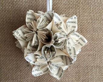 Journey to the Centre of the Earth Book Small Paper Flower Pomander Ornament