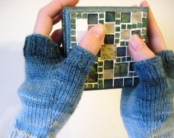 Hand knitted fingerless  woolen colorful gloves - light blue to dark