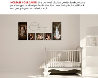 Photography Wall Display Guide - Simply White NURSERY - (3) Photoshop Layered .psd Templates with Nursery backdrop & image display.