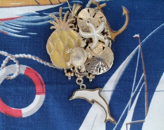 Vintage Sea Life Brooch Pin & Necklace with a Turtle, Dolphin, Sand Dollar, Pineapple, Starfish