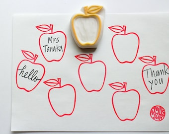 apple rubber stamp. fruit hand carved rubber stamp. diy birthday holiday scrapbooking. handmade stationery. designed by talktothesun