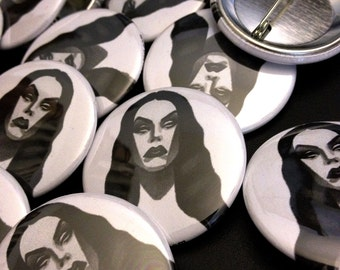 vampira tattoo flash button - 1.5""