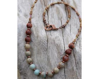 Aqua Terra Jasper Necklace, Boho Jewelry, Earthy Jewelry, Multi colored Jasper Necklace