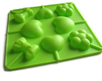 Lollipop silicone mold for chocolate or candy heart mold tray DIY