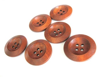Red brown Wooden Sewing Buttons 30mm - set of 6 natural wood button  (BB129)