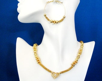 Metal Work Necklace and Large Hoop Earring Set, Gold Heart Choker Necklace,Unique Gift Idea for Her, Handmade Jewelry by m2designs