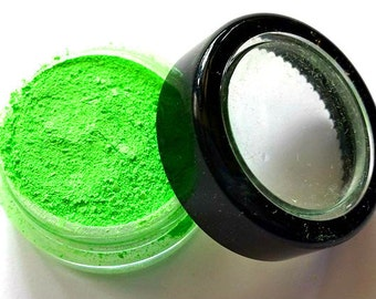 "Bright Green Shimmer Eye Shadow - Neon Green - ""Green Apple"" - Mineral Makeup - Eyeshadow"