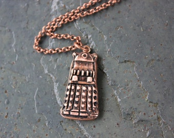 Exterminate! Dalek Necklace - Handmade antiqued copper pendant - For Doctor Who Fnas - Free Shipping USA -  Whovian Fun - Free Shipping USA