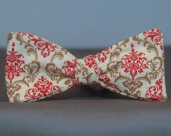 Brown and Red on Cream Damask  Bow Tie