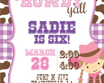 PRINTABLE Cowgirl Birthday Invitation