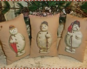 Old Fashioned SNOWMAN Tucks Vintage Style Christmas Bowl Fillers Holiday Pillows Ornies