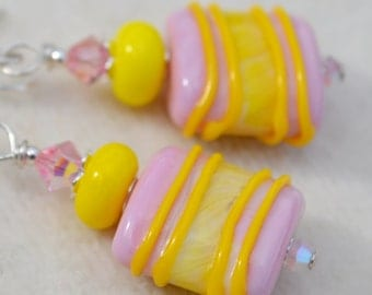 CANDY-Handmade Lampwork and Sterling Silver Earrings