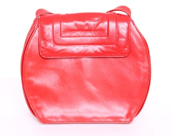 vintage 1980s red leather purse clutch shoulder bag holiday party gift