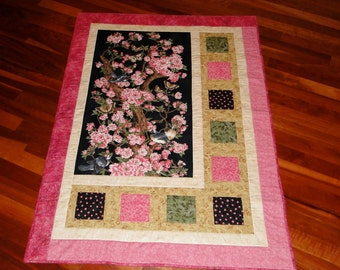 Pink and Black Oriental Apple Blossom Quilted Wall Hanging