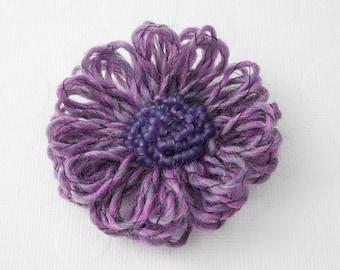 Purple Beaded Flower Brooch