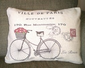 Bicycle Pillow Cover, Lumbar Bike Cushion, Throw Pillow, French Bicycle Postcard Print Red Roses Choice of Fabric, One 12 x 16 or 12 x 18