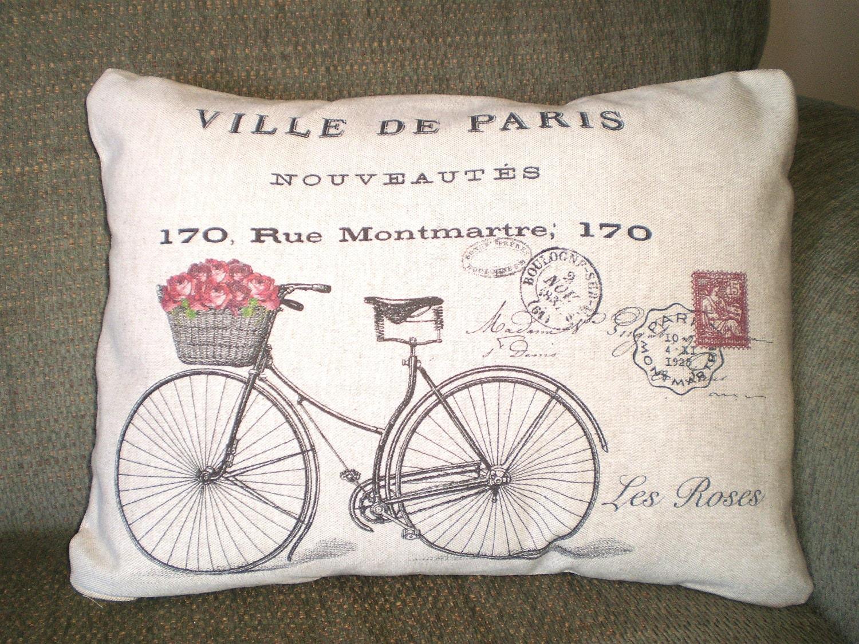 Throw Pillows With Bikes : Bicycle Pillow Cover Lumbar Bike Cushion Throw Pillow