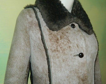 M Ardney Suede Lamb Coat Cocoa Shearling Coat Extreem Winter Weather Brown Suede Sheep Skin Car Coat