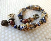 Boho bracelet with colorful African beads and knotted cord, tribal style