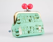 Metal frame coin purse with color bobble - Harajuku in aqua - Color dad / Cotton and Steel / Wattsalot / Neon pink white mint green / pets