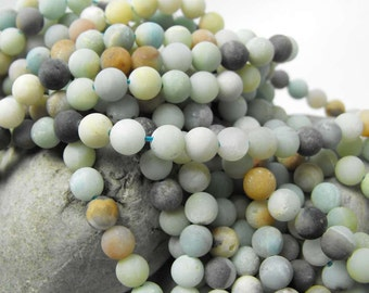 FROSTED AMAZONITE ORBS 00465 precious gemstone accent beads matte finish round multi 6mm natural blue green tan off white spheres