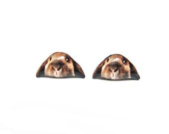 Little Brown Rabbit Stud Earrings - A025ER-E06 Made to Order