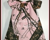Mossy Oak Break Up Pink  Retro Fashion Peasant Style Girls Dress Size 12 to 18 Month Hand Made  Ready To Ship Party Dress