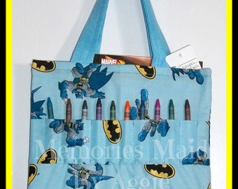Batman Crayon Tote Bag Hand Made Great Gift Perfect for Doctor Appointments and Travel  Babysitters Grandmas House and more