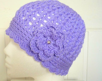 Womens Beanie Hat Crocheted in the colour Bluebell Purple